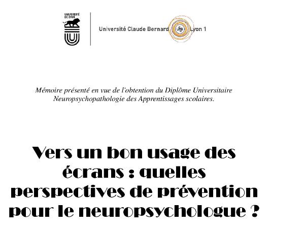 Vers un bon usage des écrans : quelles perspectives de prévention pour le neuropsychologue ?